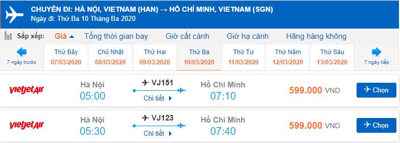Giá vé máy bay Hà Nội Sài Gòn Vietjet