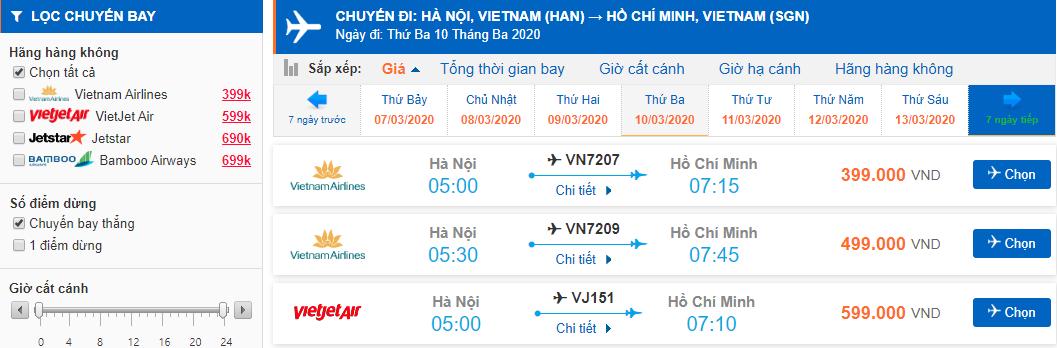 Giá vé máy bay đi Hồ Chí Minh bao nhiêu tiền?