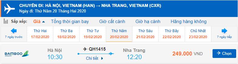 Vé máy bay đi Nha Trang khứ hồi Bamboo Airways chiều đi