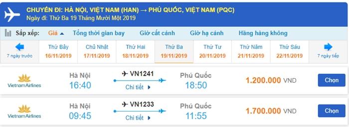 Giá vé máy bay đi Phú Quốc tháng 11