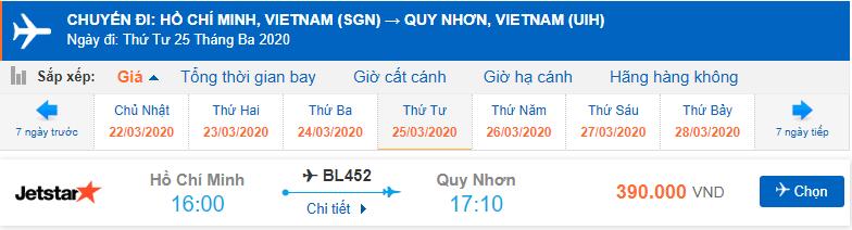 Giá vé máy bay từ Hồ Chí Minh đi Quy Nhơn