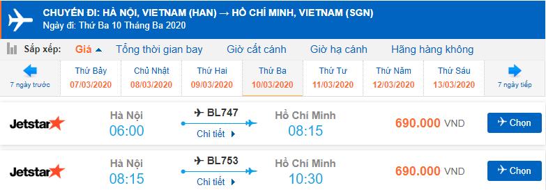 Giá vé máy bay Hà Nội Sài Gòn Jetstar