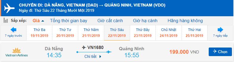 Vé máy bay đi Vân Đồn Vietnam Airlines từ Đà Nẵng