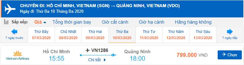 Vé máy bay đi Vân Đồn Vietnam Airlines từ Hồ Chí Minh