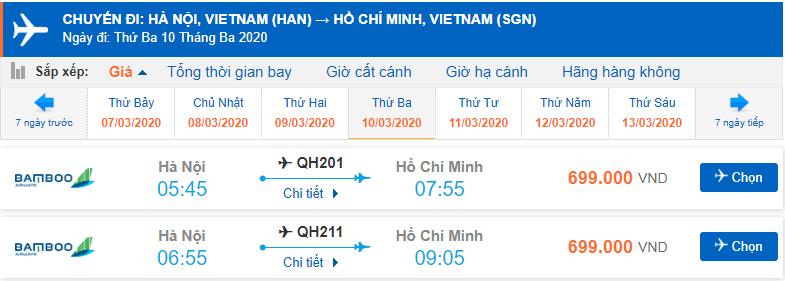 Vé máy bay giá rẻ Hà Nội đi Hồ Chí Minh Bamboo Airways