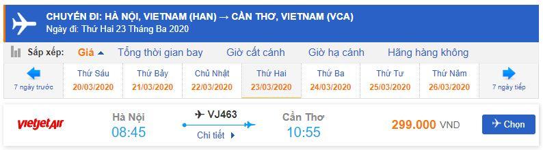 Giá vé máy bay Hà Nội đi Cần Thơ Vietjet Air