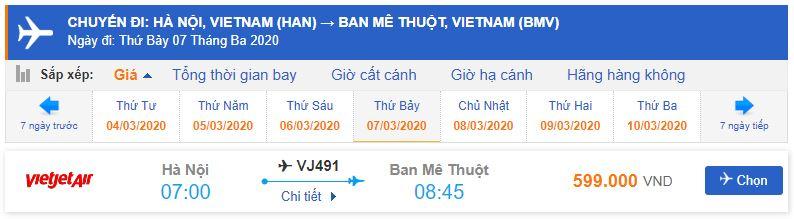 Vé máy bay giá rẻ đi Buôn Mê Thuột từ Hà Nội