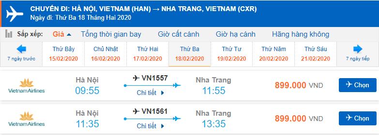 Giá vé máy bay đi Nha Trang Vietnam Airlines