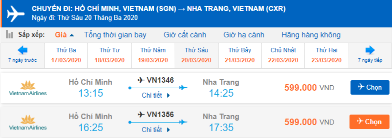 Vé máy bay đi Nha Trang tháng 3 từ Hồ Chí Minh