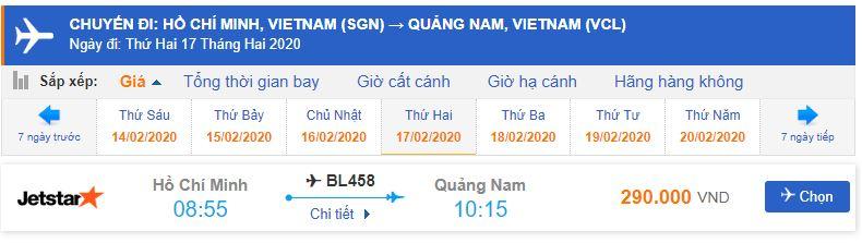 Vé máy bay Jetstar đi Chu Lai bao nhiêu tiền?