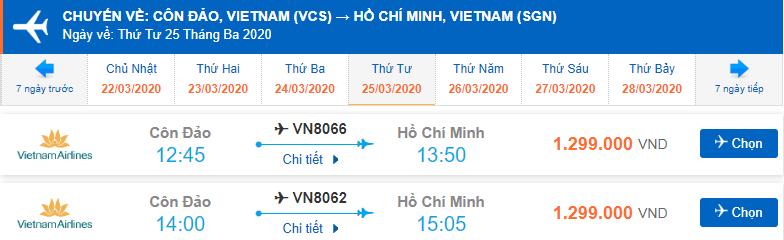 Vé máy bay khứ hồi Sài Gòn Côn Đảo