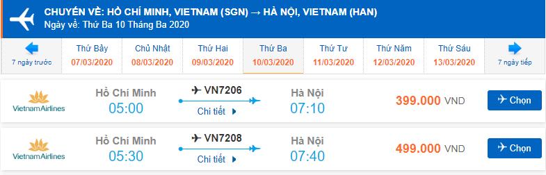 Vé máy bay khứ hồi Hà Nội Sài Gòn Vietnam Airlines