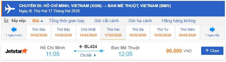 Giá vé máy bay Sài Gòn đi Buôn Mê Thuột Jetstar Pacific