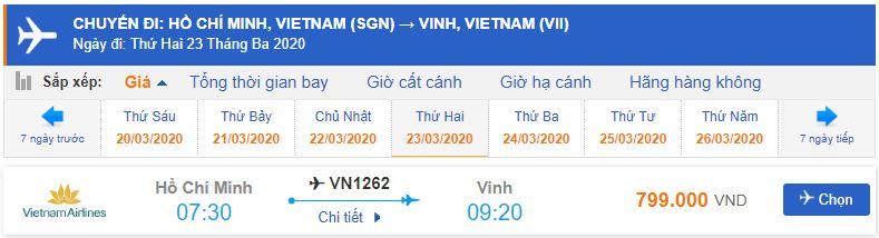 Giá vé máy bay Vietnam Airlines đi Vinh