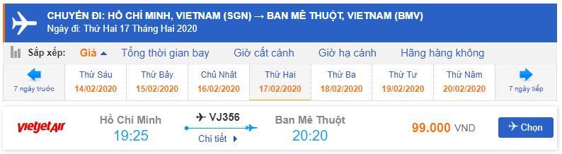 Giá vé máy bay đi Buôn Mê Thuột của Vietjet Air