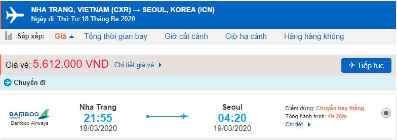 Giá vé máy bay đi Hàn Quốc Bamboo Airways
