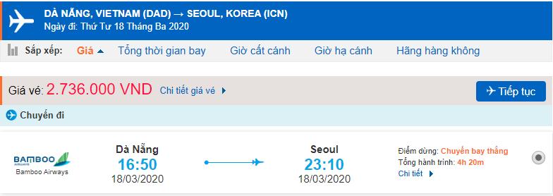Giá vé máy bay đi Hàn từ Đà Nẵng Bamboo Airways