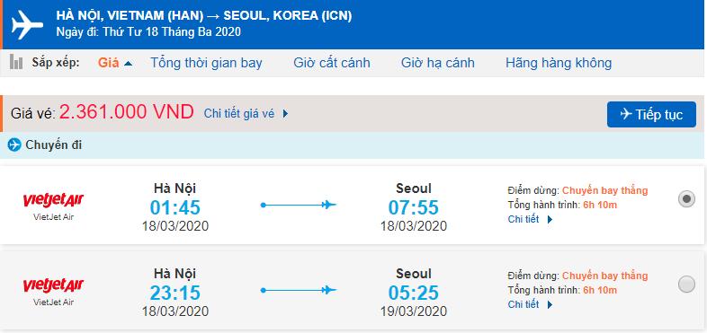 Giá vé máy bay đi Hàn Quốc từ Hà Nội