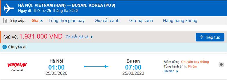 Giá vé máy bay đi Busan Hàn Quốc