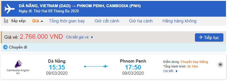 Giá vé máy bay đi Phnom Penh từ Đà Nẵng