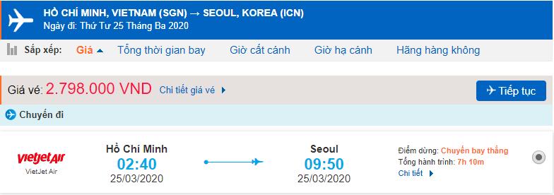 Giá vé máy bay đi Hàn Quốc từ Hồ Chí Minh