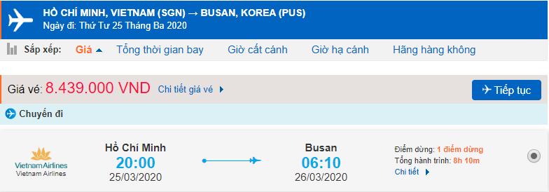 Giá vé máy bay đi Busan từ TPHCM