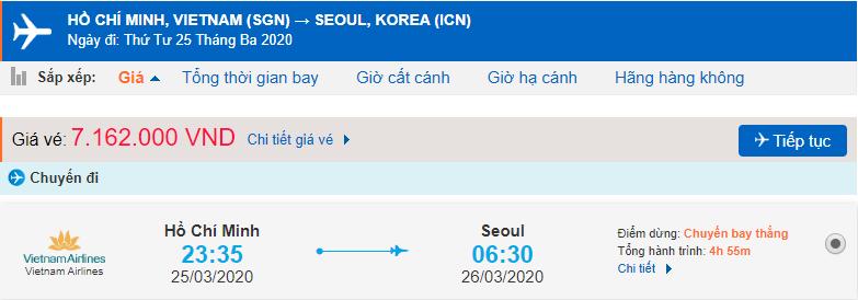 Giá vé máy bay từ TPHCM đi Hàn Quốc