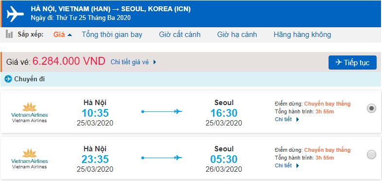 Giá vé máy bay đi Hàn Quốc Vietnam Airlines