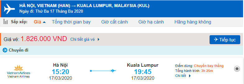 Giá vé máy bay đi Kuala Lumpur Vietnam Airlines
