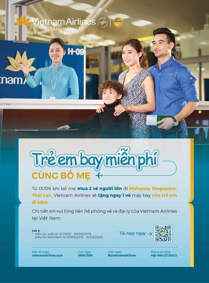 Vietnam Airlines dành tặng vé máy bay miễn phí trẻ em bay cùng bố mẹ