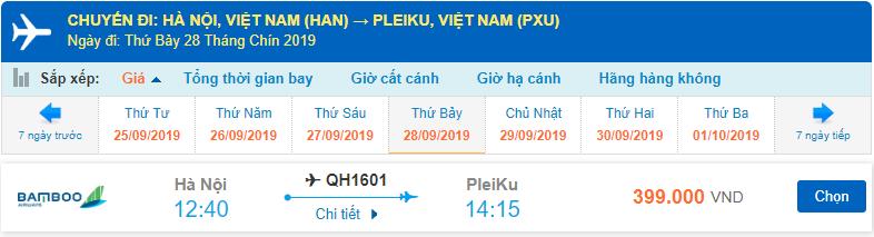 Giá vé máy bay đi Pleiku Bamboo Airways