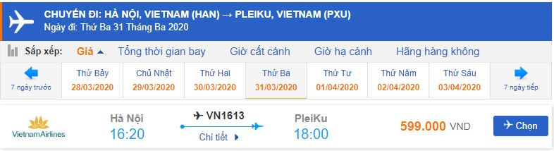 Giá vé máy bay đi Pleiku Vietnam Airlines