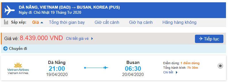 Vé máy bay đi Busan từ Đà Nẵng Vietnam Airlines