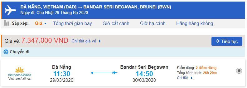 Giá vé máy bay Đà Nẵng đi Bandar Seri Begawan