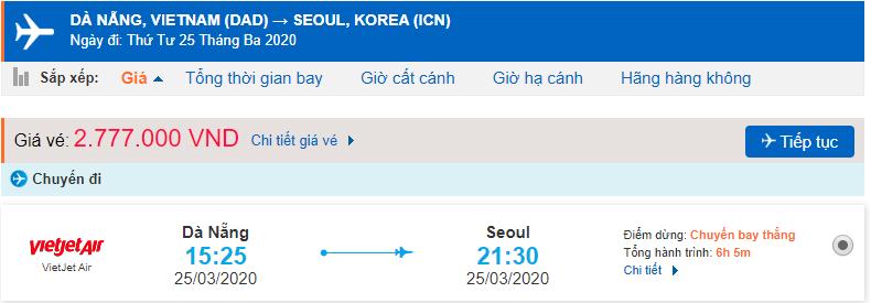 Giá vé máy bay đi Hàn Quốc của Vietjet Air từ Đà Nẵng