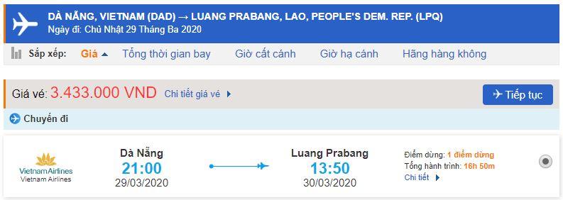 Giá vé máy bay đi Luang Prabang từ Đà Nẵng