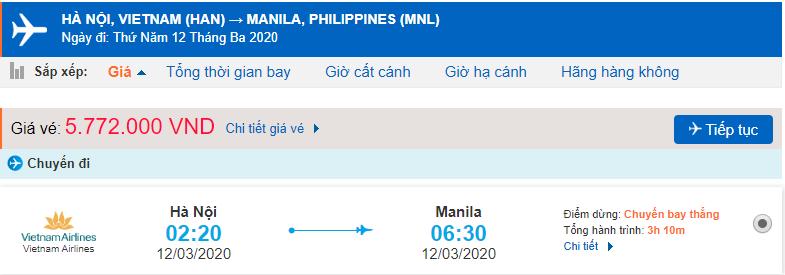 Giá vé máy bay đi Philippines Vietnam Airlines