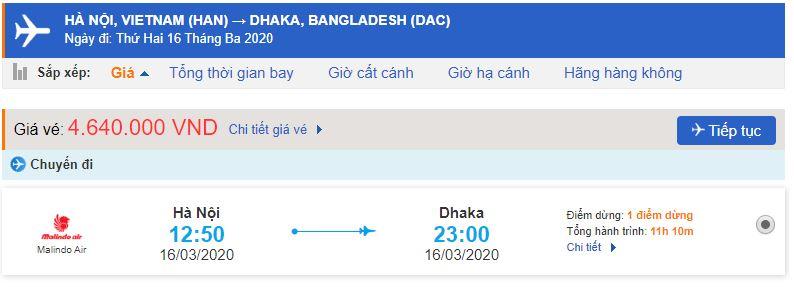 Giá vé máy bay đi Dhaka Malindo Air