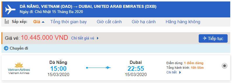 Giá vé máy bay đi Dubai từ Đà Nẵng