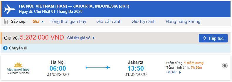 Giá vé máy bay Vietnam Airlines đi Indonesia