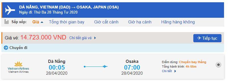 Vé máy bay đi Osaka từ Đà Nẵng