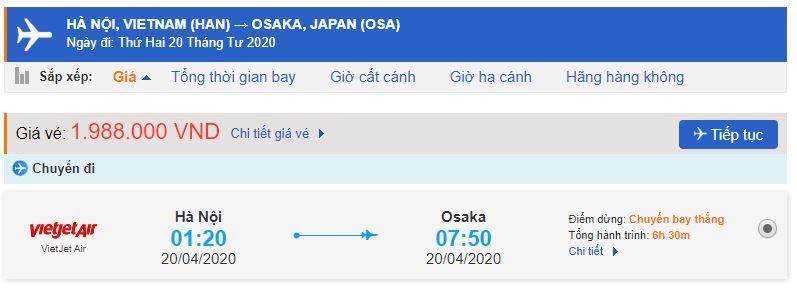 Giá vé máy bay đi Nhật Bản Vietjet Air