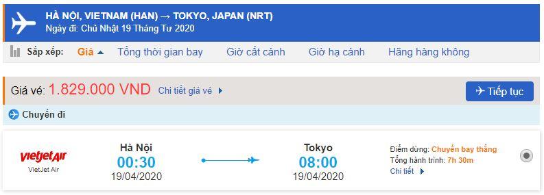 Vé máy bay đi Tokyo Vietjet Air
