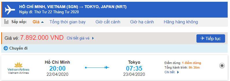 Giá vé máy bay từ Hồ Chí Minh đi Tokyo