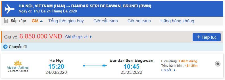 Giá vé máy bay đi Brunei Vietnam Airlines