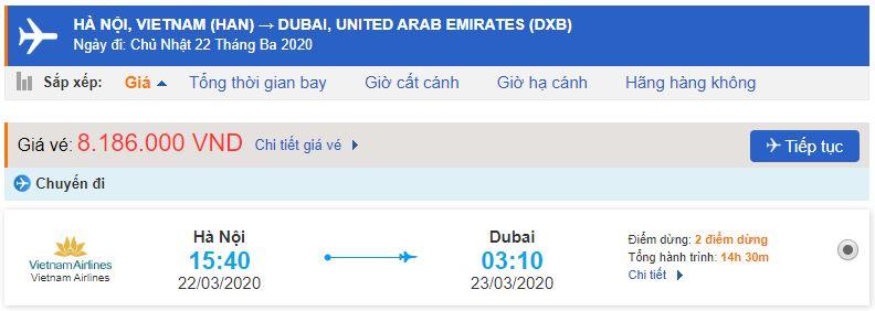 Giá vé máy bay Vietnam Airlines đi Dubai