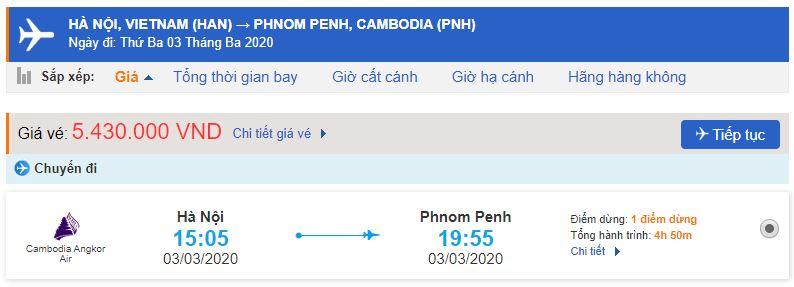 Giá vé máy bay Hà Nội – Phnom Penh