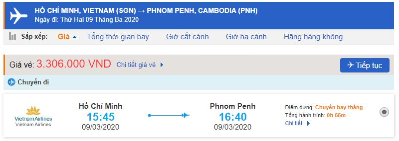 Giá vé máy bay Hồ Chí Minh đi Phnom Penh