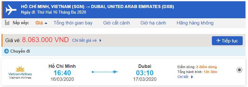 Giá vé máy bay thành phố Hồ Chí Minh đi Dubai