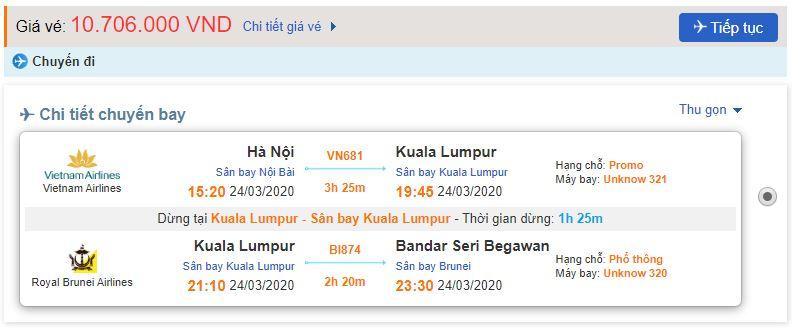 Giá vé máy bay từ Hà Nội đi Brunei
